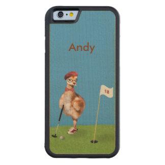 ゴルフ、カスタマイズ可能な名前を遊んでいるユーモアのあるな鳥 CarvedメープルiPhone 6バンパーケース