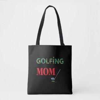 ゴルフ-ゴルフをするお母さん、カッコいい トートバッグ