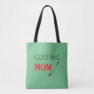 ゴルフ-ゴルフをするお母さん、緑、カッコいい トートバッグ