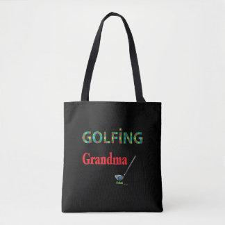 ゴルフ-ゴルフをする祖母、カッコいい トートバッグ