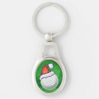 ゴルフ・ボールのクリスマスの帽子 キーホルダー