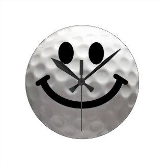 ゴルフ・ボールのスマイリーフェイスの時計 ラウンド壁時計