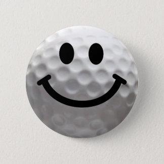 ゴルフ・ボールのスマイリー 缶バッジ