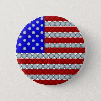 ゴルフ・ボールの米国旗の円形ボタン 5.7CM 丸型バッジ