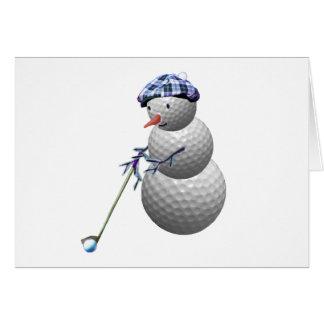 ゴルフ・ボールの雪だるまのクリスマス カード