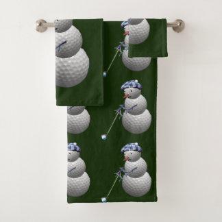 ゴルフ・ボールの雪だるまのクリスマス バスタオルセット