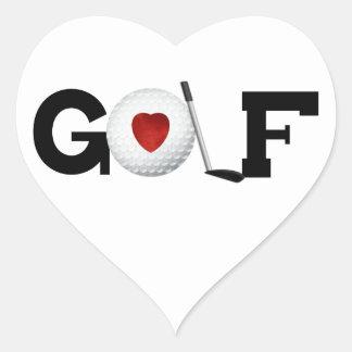 ゴルフ・ボールのTシャツおよびギフトとのゴルフ ハートシール
