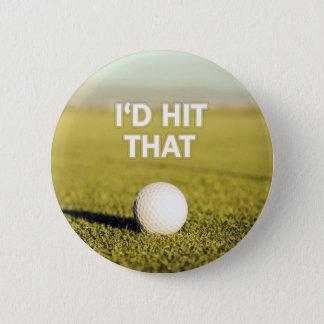 ゴルフ・ボール私はそのデザインに当ります 缶バッジ