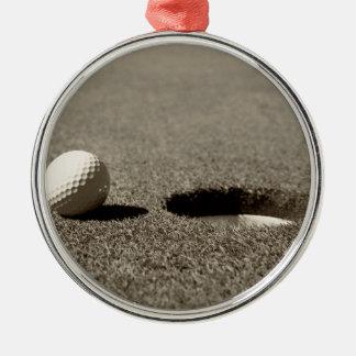ゴルフ・ボール シルバーカラー丸型オーナメント