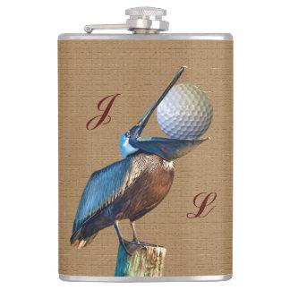 ゴルフ・ボール、モノグラムを持つブラウンのペリカン フラスク