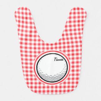ゴルフ; 赤と白のギンガム よだれかけ