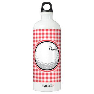 ゴルフ; 赤と白のギンガム ウォーターボトル