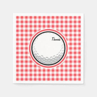 ゴルフ; 赤と白のギンガム スタンダードカクテルナプキン