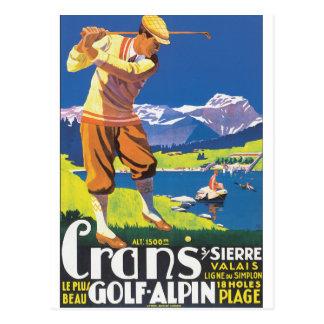 ゴルフAlpinのヴィンテージ旅行ポスター ポストカード