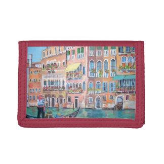 ゴンドラ-赤い三重ナイロン財布