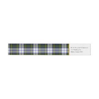 ゴードンの服の格子縞の覆いの宛名ラベル ラップアラウンドラベル