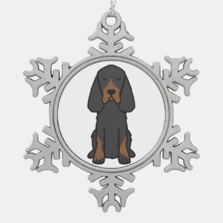 ゴードンセッター犬の漫画 スノーフレークピューターオーナメント