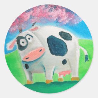 ゴードンブルースを絵を描くかわいい牛民芸 ラウンドシール