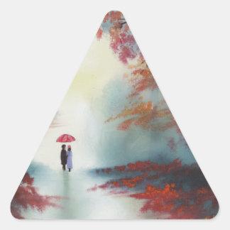 ゴードンブルース著雨の日の秋の歩行 三角形シール