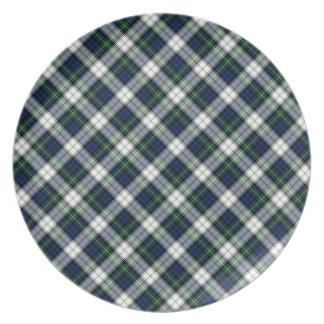 ゴードン家族の服のタータンチェックの青および白い格子縞 プレート
