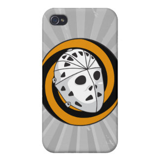 ゴールキーパーのホッケーのマスクのオレンジ黒 iPhone 4/4Sケース