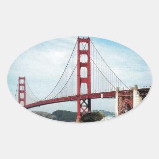 ゴールデンゲートブリッジサンフランシスコカリフォルニア 楕円形シール