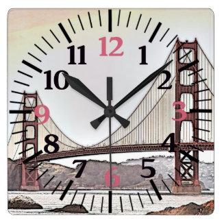 ゴールデンゲートブリッジ-サンフランシスコ、カリフォルニア(ピンク) スクエア壁時計
