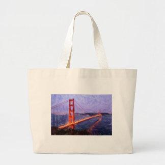 ゴールデンゲートブリッジ -- 混合メディアの絵を描くこと ラージトートバッグ