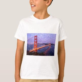 ゴールデンゲートブリッジ -- 混合メディアの絵を描くこと Tシャツ