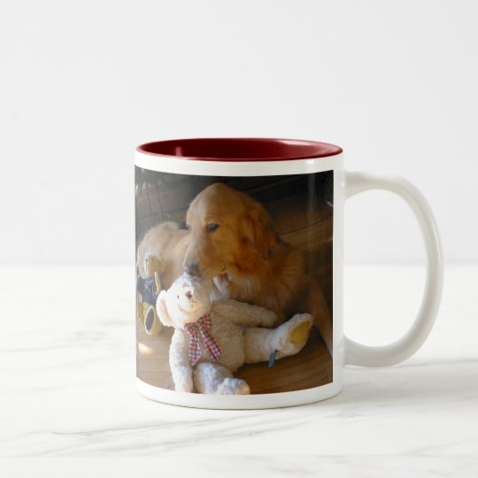 ゴールデンレトリーバー犬とテディーベア ツートーンマグカップ