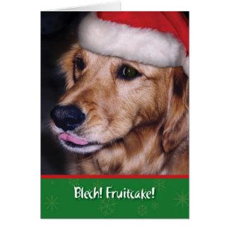 ゴールデン・リトリーバーのおもしろいなクリスマスのFruitcake カード