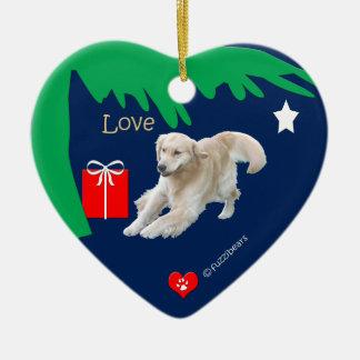 ゴールデン・リトリーバーのクリスマスのオーナメント「愛」ハート セラミックオーナメント