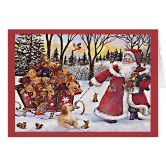 ゴールデン・リトリーバーのクリスマスカードサンタBears1 カード