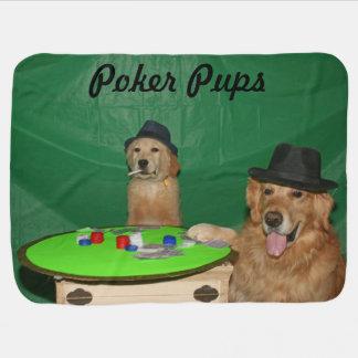ゴールデン・リトリーバーのトランプのポーカーの子犬 ベビー ブランケット