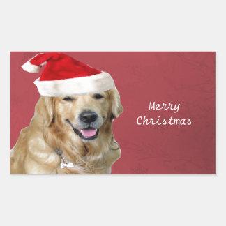 ゴールデン・リトリーバーのメリークリスマス 長方形シール