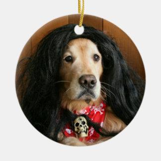 ゴールデン・リトリーバーのロックンロール犬 セラミックオーナメント