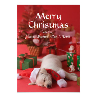 ゴールデン・リトリーバーの子犬およびクリスマス2 カード