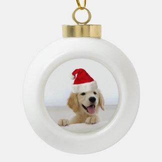 ゴールデン・リトリーバーの子犬のクリスマスの陶磁器のオーナメント セラミックボールオーナメント