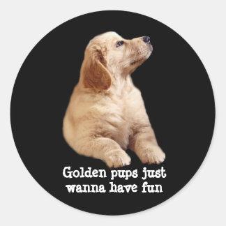 ゴールデン・リトリーバーの子犬のステッカー ラウンドシール