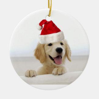 ゴールデン・リトリーバーの子犬の休日のクリスマスのオーナメント セラミックオーナメント