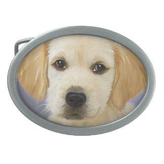 ゴールデン・リトリーバーの子犬の絵画 卵形バックル