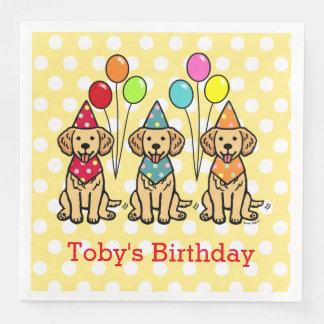 ゴールデン・リトリーバーの子犬の誕生日の水玉模様