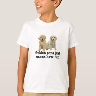 ゴールデン・リトリーバーの子犬はユニセックスなワイシャツをからかいます Tシャツ