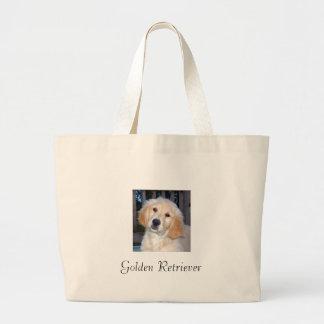 ゴールデン・リトリーバーの子犬 ラージトートバッグ