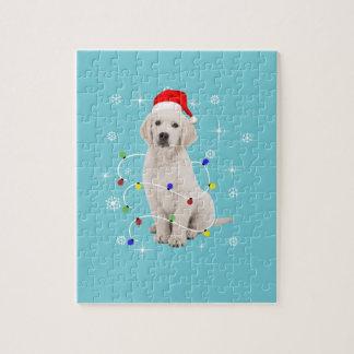 ゴールデン・リトリーバーの小犬の休日のクリスマス ジグソーパズル