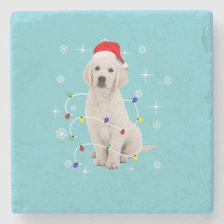 ゴールデン・リトリーバーの小犬の休日のクリスマス ストーンコースター