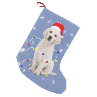 ゴールデン・リトリーバーの小犬の休日のクリスマス スモールクリスマスストッキング