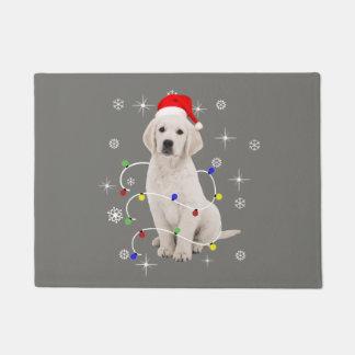 ゴールデン・リトリーバーの小犬の休日のクリスマス ドアマット