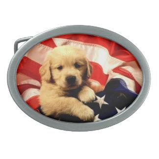 ゴールデン・リトリーバーの小犬の旗のベルトの留め金 卵形バックル