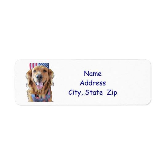 ゴールデン・リトリーバーの差出人住所ラベル、7月4日 返信用宛名ラベル